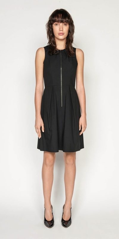 Dresses | Cotton Blend Zip Front Dress