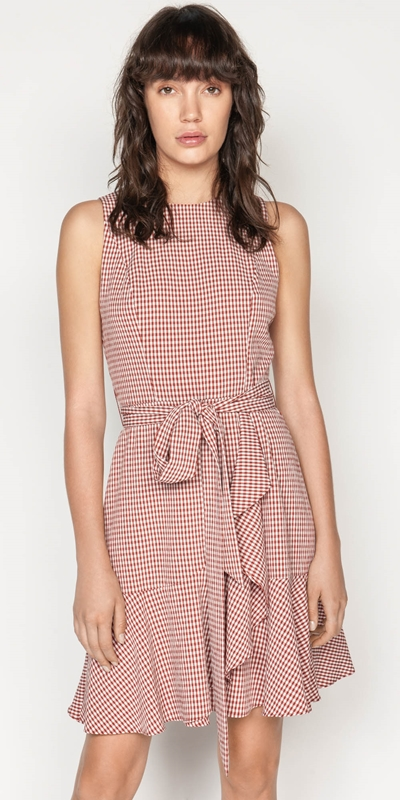 Dresses  | Crinkle Gingham Frill Hem Dress