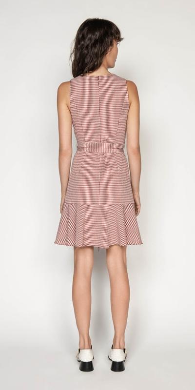 Dresses | Crinkle Gingham Frill Hem Dress