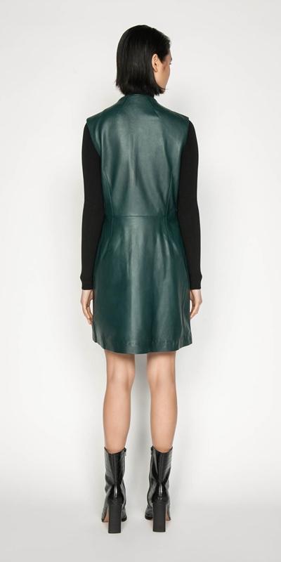 Dresses | Leather Funnel Neck Dress