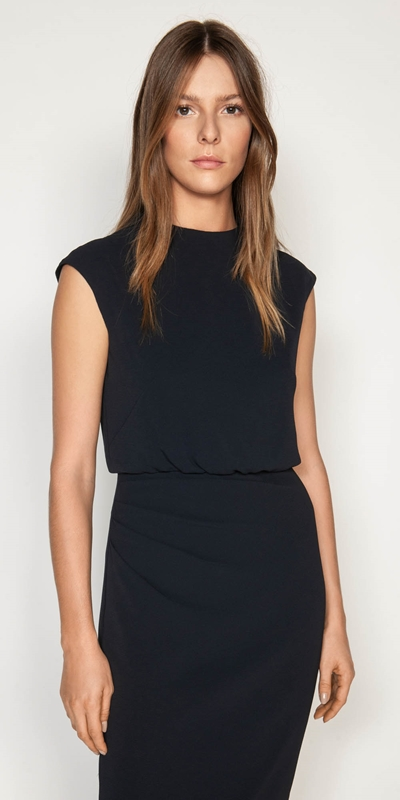 Wear to Work  | Funnel Neck Draped Dress