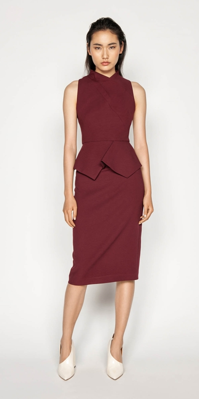 Dresses | Draped Peplum Pencil Dress