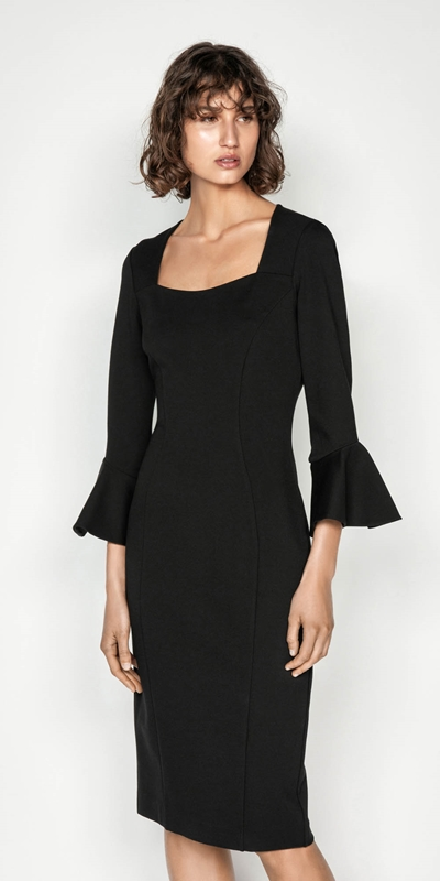 Dresses | Double Knit Fluted Sleeve Dress