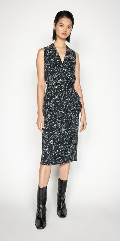 Wear to Work | Marbled Spot Wrap Dress