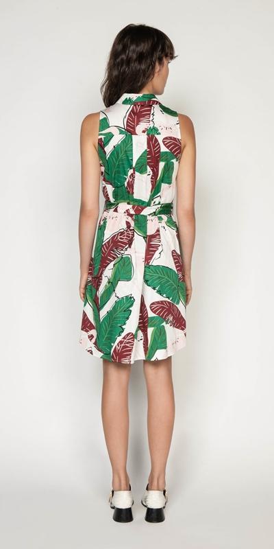 Dresses | Belted Tropical Shirt Dress