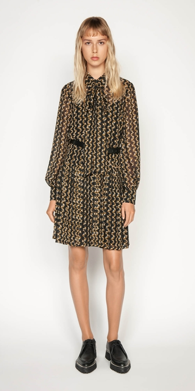 Work From Home | Monogram Chain Shirt Dress
