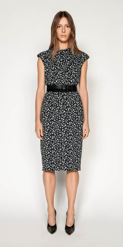 Dresses | Leopard Georgette Pencil Dress