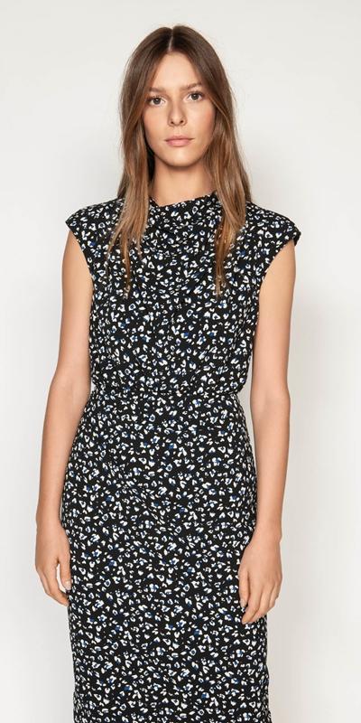 Dresses   Leopard Georgette Pencil Dress