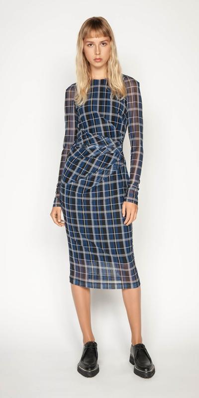 Dresses | Check Mesh Pencil Dress