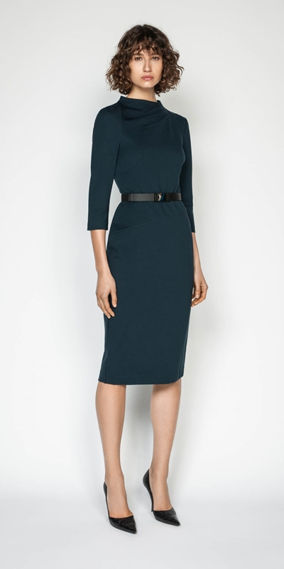 Wear to Work | Draped Funnel Neck Pencil Dress