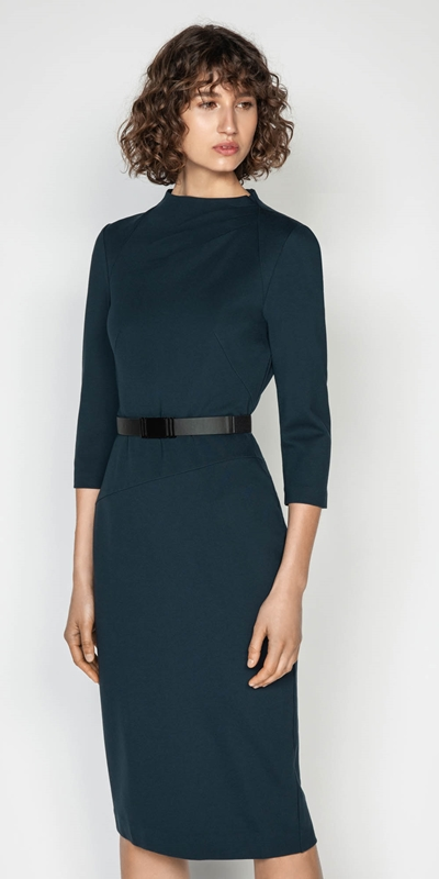 Dresses  | Draped Funnel Neck Pencil Dress