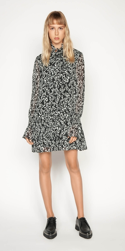 Work From Home | Monochrome Leopard Trapeze Dress