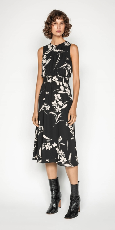 Work From Home | Silhouette Bouquet Georgette Midi Dress