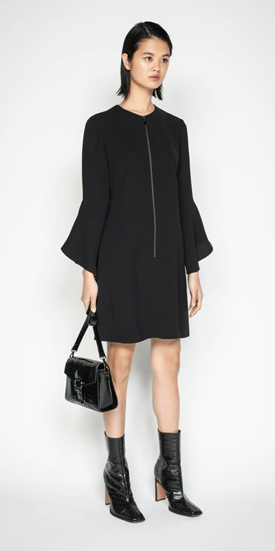 Sale | Crepe Frilled Sleeve Dress