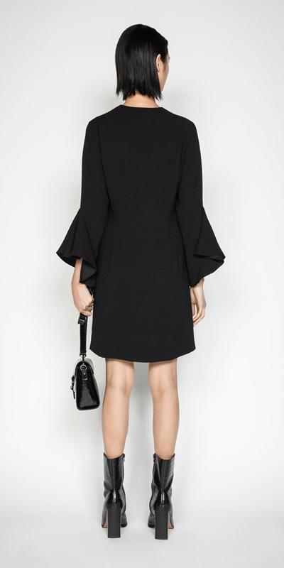 Dresses | Crepe Frilled Sleeve Dress