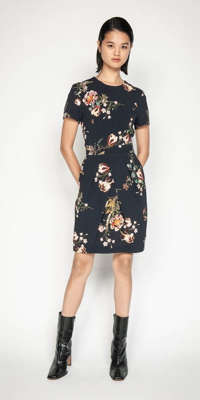 Sale | Golden Floral Tulip Dress