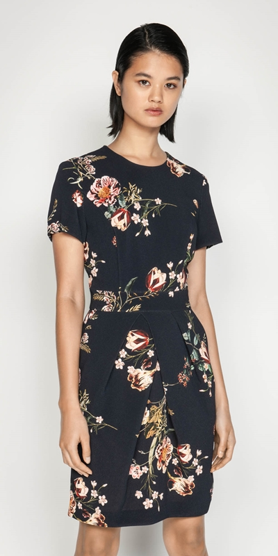Wear to Work  | Golden Floral Tulip Dress