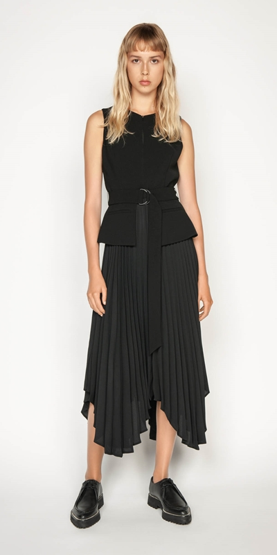Dresses | Pleated Asymmetric Hem Dress