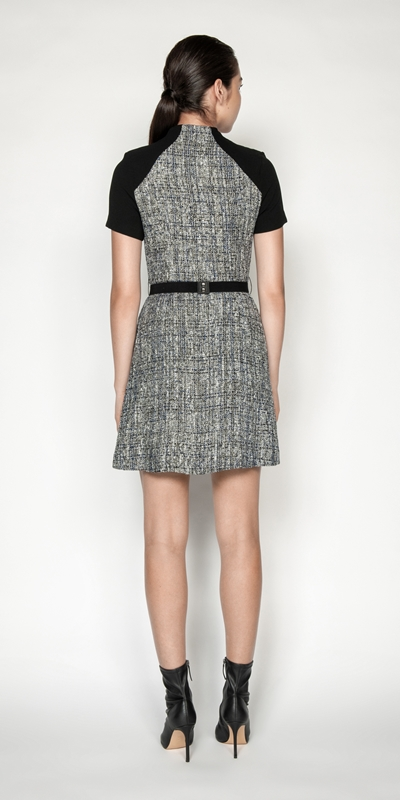 Dresses   Boucle Tweed Belted Dress