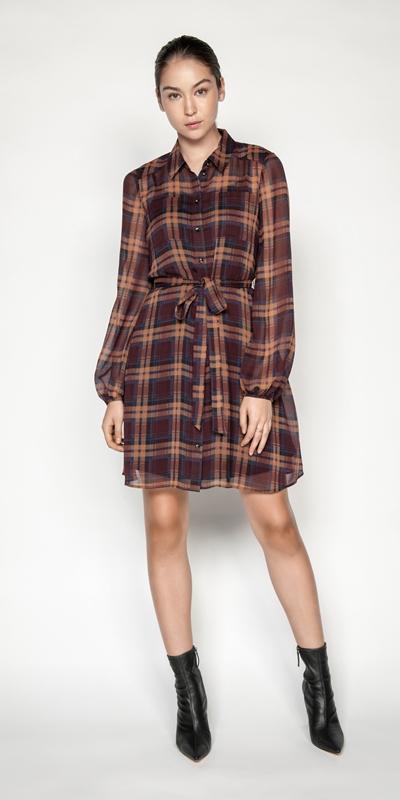 Dresses | Chiffon Check Shirt Dress