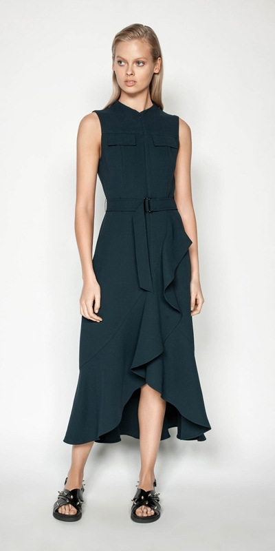Wear to Work | Belted Crepe Midi Dress