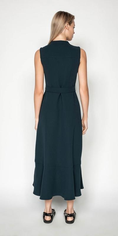 Dresses | Belted Crepe Midi Dress