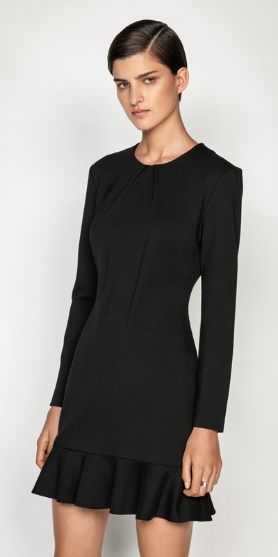 Dresses  | Double Knit Fluted Hem Dress