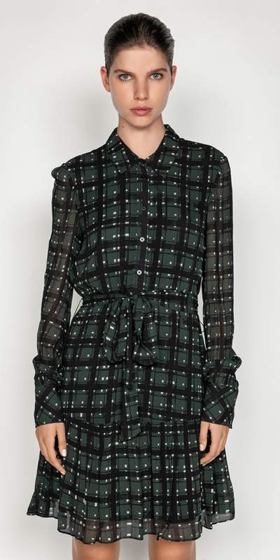 Dresses  | Teal Check Button Front Dress