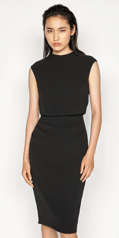 Wear to Work  | Draped Skirt Funnel Neck Dress