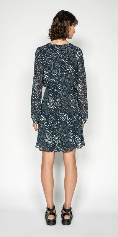 Dresses   Monochrome Tie Waist Midi Dress