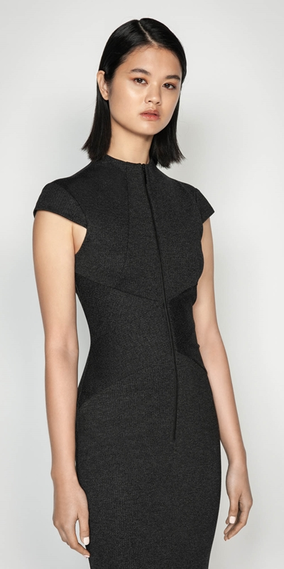 Wear to Work  | Melange Herringbone Double Knit Dress