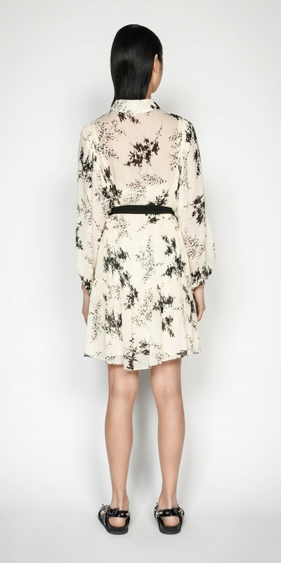Dresses | Abstract Floral Viscose Shirt Dress