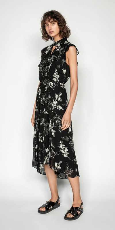 Dresses | Abstract Floral Viscose Ruffle Midi Dress