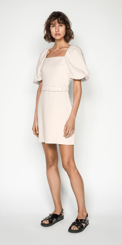 S20 Campaign | Ecru Cotton Linen Sculpted Sleeve Dress