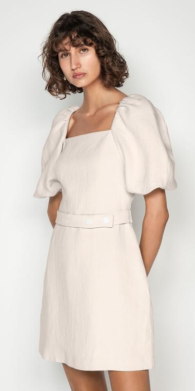 Dresses   Ecru Cotton Linen Sculpted Sleeve Dress