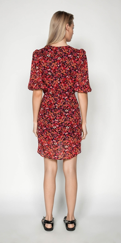 Dresses | Berry Floral Viscose Dress