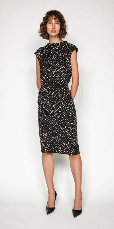 Dresses | Spot Draped Waist Pencil Dress