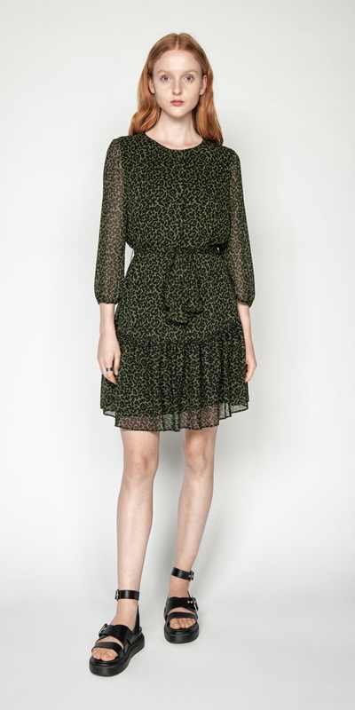 Dresses | Belted Olive Animal Dress