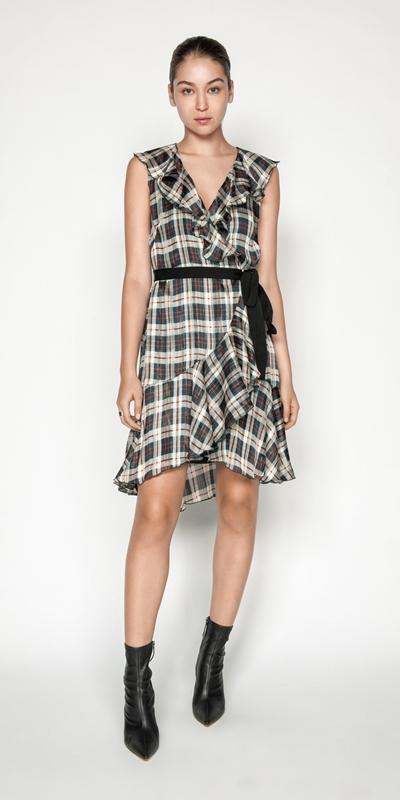 Sale | Check Frilled Wrap Dress