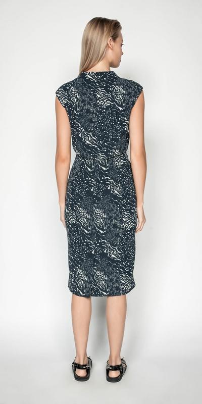 Dresses | Monochrome Draped Skirt Funnel Neck Dress