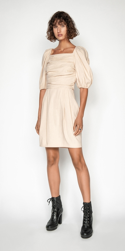 Sale | Linen Puff Sleeve Dress