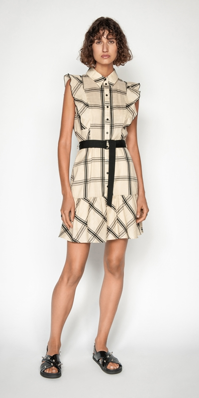 Sale | Frilled Sleeve Shirt Dress