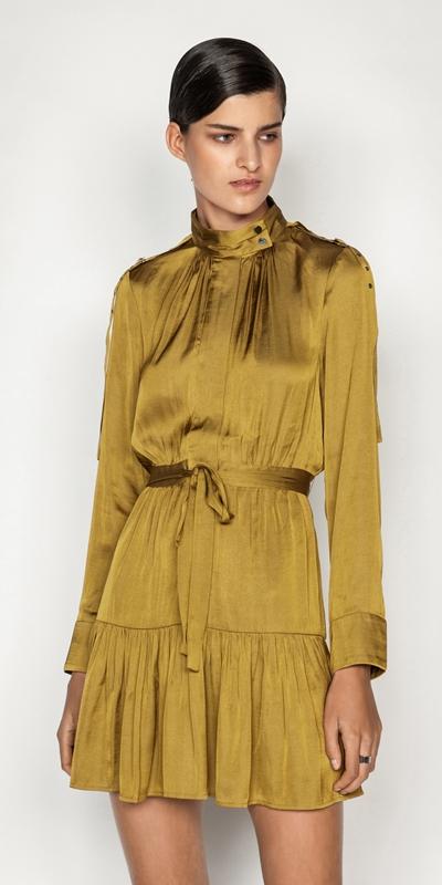 Dresses  | Satin Tie Waist Dress