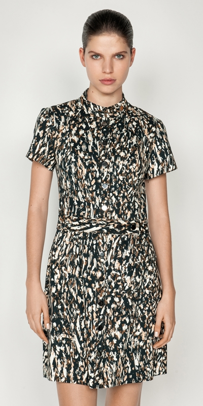 Dresses  | Leopard Snap Front Dress