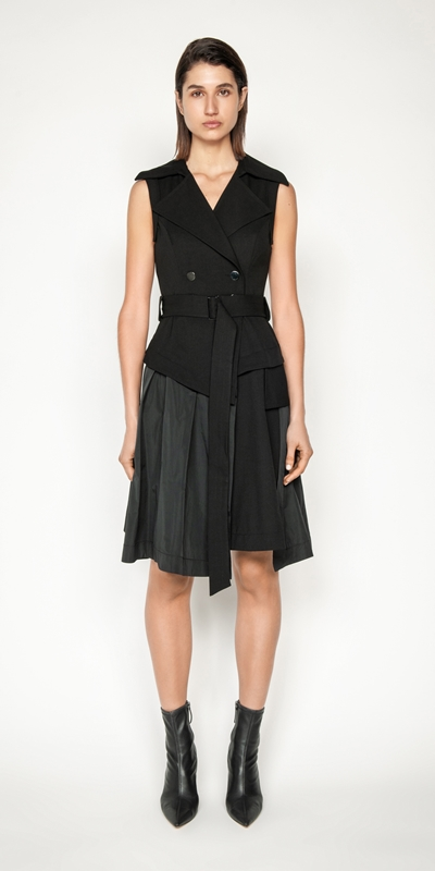 Dresses | Belted Asymmetric Trench Dress