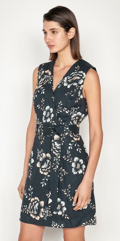 Dresses  | Belted Oriental Floral Dress