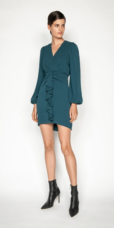 Dresses | Crinkle Georgette Cascade Frill Dress