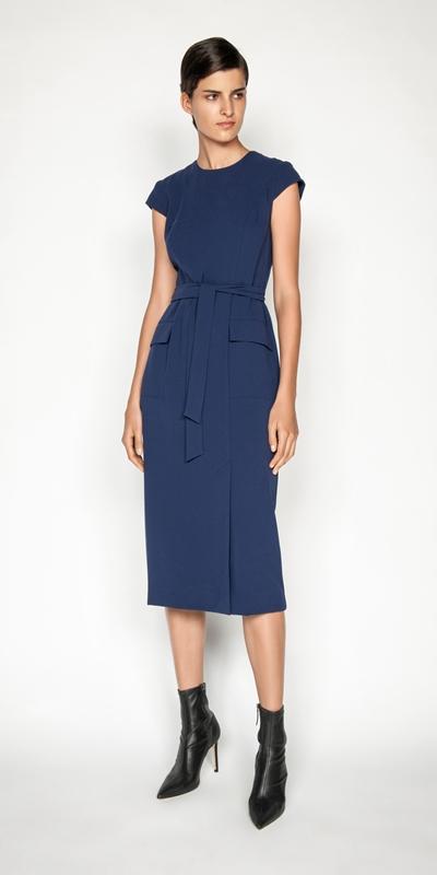Sale | Crepe Tie Waist Midi Dress