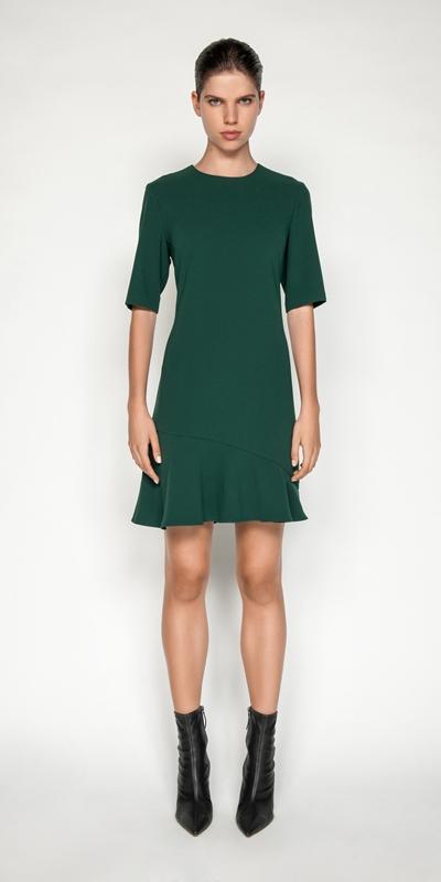 Dresses | Crepe Fluted Hem Dress