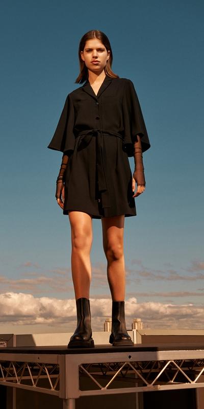Dresses | Fluted Sleeve Shirt Dress